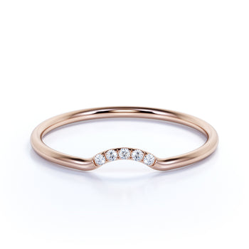 Curved  Mini Stacking Wedding Ring Band with Round Shape Diamonds in Rose Gold