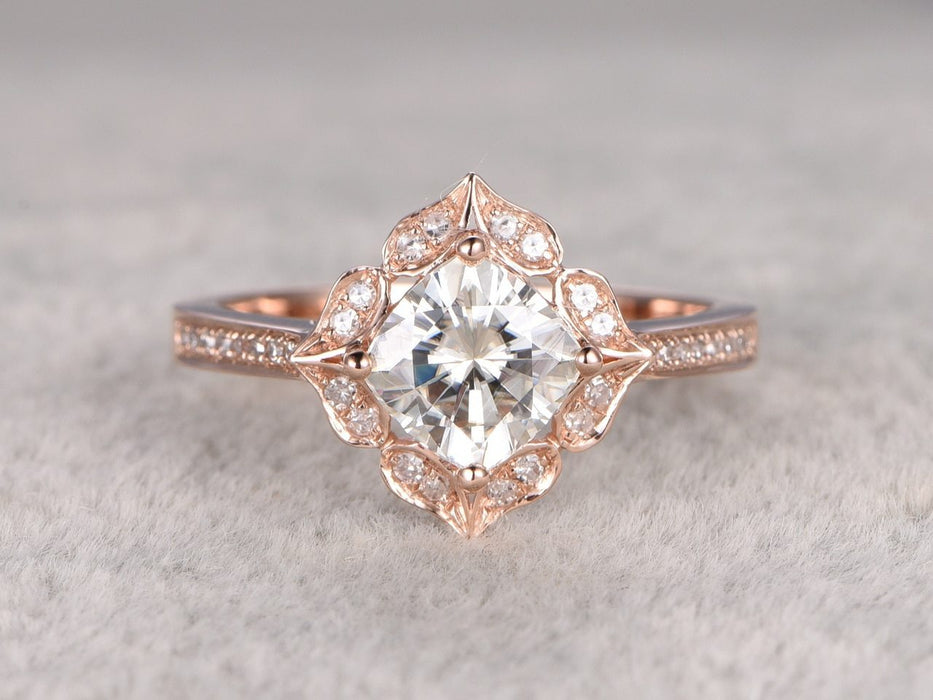 1.25 Carat Antique Flower Design Cushion Cut Moissanite and Diamond Engagement Ring in Rose Gold