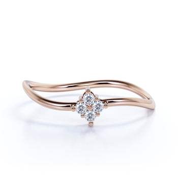 4 stone Curved Stacking Ring with Round Cut Diamonds in Rose Gold