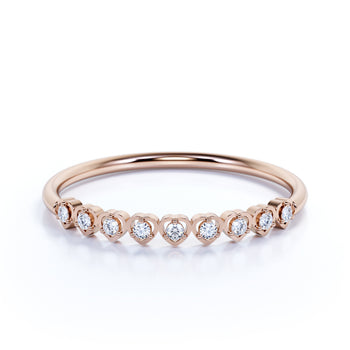Semi Eternity Heart Shape Wedding Ring Band with Round Shape Diamonds Stacking Ring in rose Gold