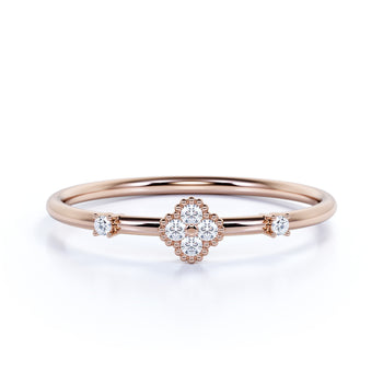 Dainty Flower Stacking Ring with Round Shape Diamonds in Rose Gold