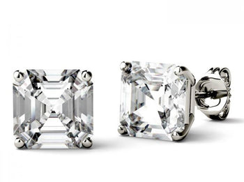 4 Prong 2 Carat Asscher Cut Moissanite Solitaire Stud Earrings in White Gold
