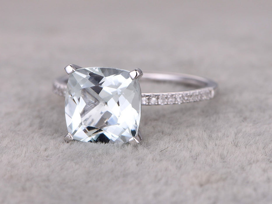 1.25 Carat Cushion Cut Aquamarine and Diamond Engagement Ring in White Gold