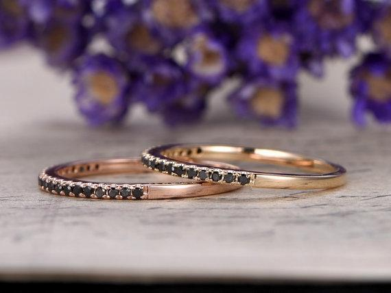 .50 Carat Round Cut Black Diamond Pair of 2 Wedding Ring Bands in Rose Gold