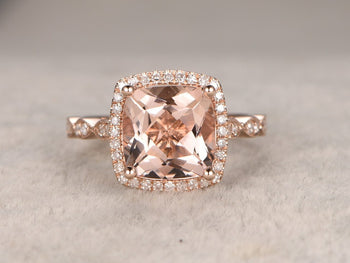 Unique 2 Carat Cushion Cut Morganite and Diamond Art Deco Engagement Ring in Rose Gold