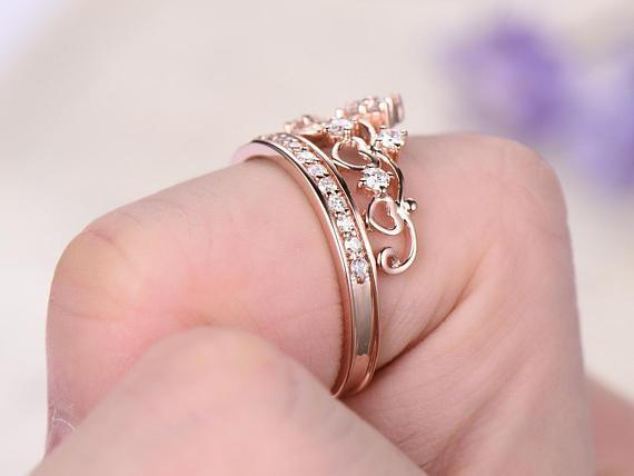 Crown design .50 Carat Round cut Diamond Wedding Ring Band in Rose Gold