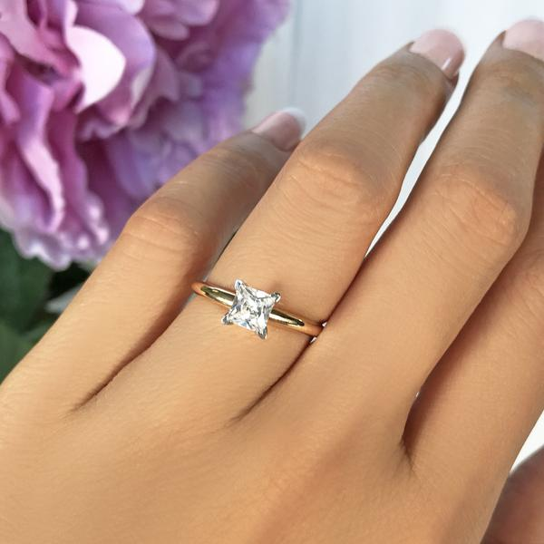 1 Carat Princess Cut Solitaire Engagement Ring In Yellow Gold Over Ste Kisnagems Co Uk