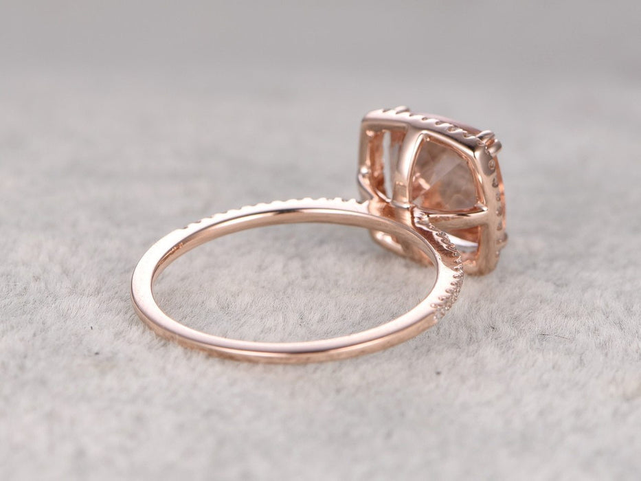 1.50 Carat Cushion Cut Morganite and Diamond Engagement Ring in White Gold