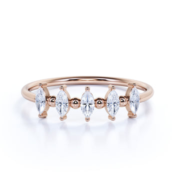 Stunning 5 Stone Marquise Cut Diamond Stackable Wedding Ring Band in Rose Gold