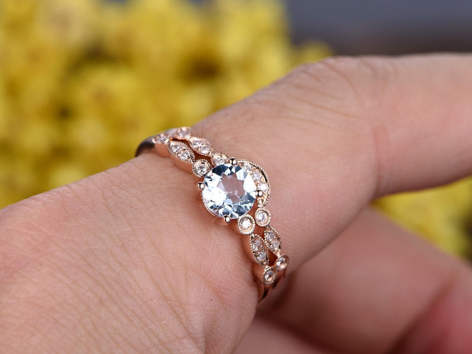 Beautiful 1.50 Carat Round Cut Aquamarine and Diamond Wedding Set in Rose Gold