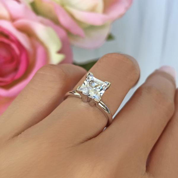 2 Carat Shank Princess Cut Solitaire Engagement Ring in White Gold over Sterling Silver