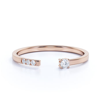 Dainty Open Stacking Ring with Round Diamonds in Rose Gold
