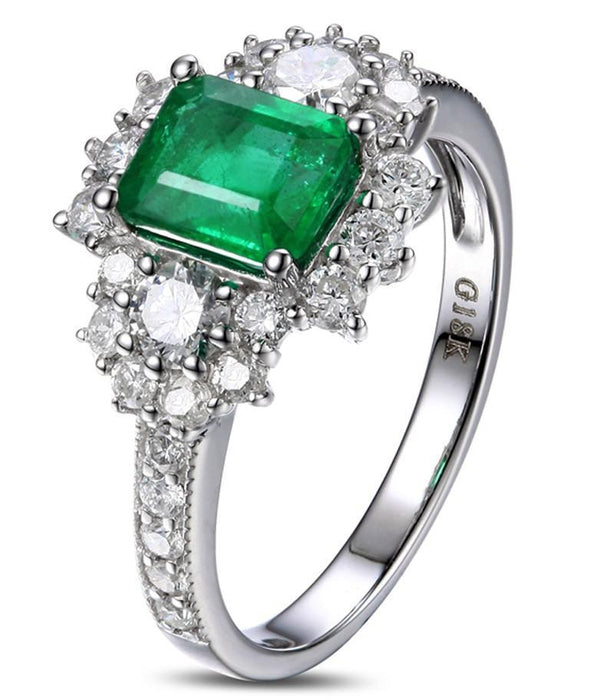 2 Carat beautiful Emerald and Diamond Engagement Ring