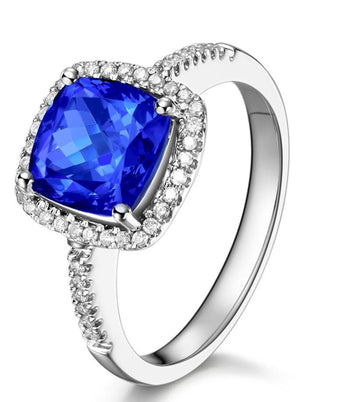 2 Carat Cushion Cut Blue Sapphire and Diamond Halo Engagement Ring