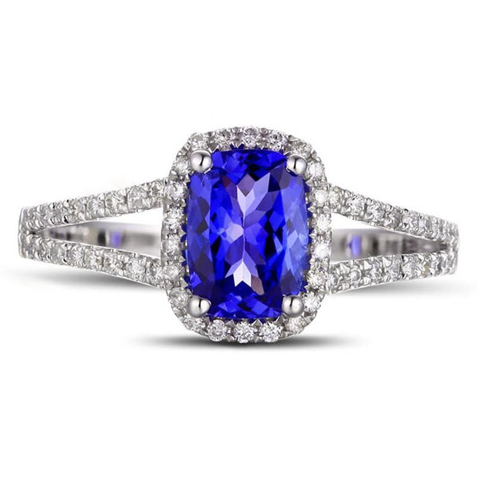 2 Carat Cushion Cut Sapphire and Diamond Halo Engagement Ring