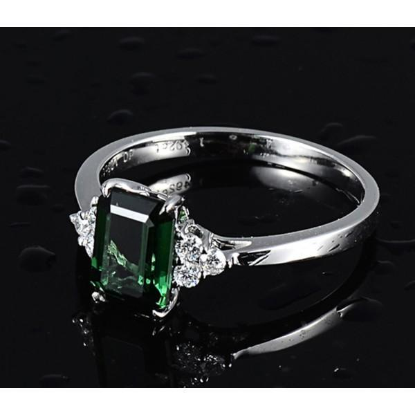 2 Carat Emerald and Diamond Engagement Ring
