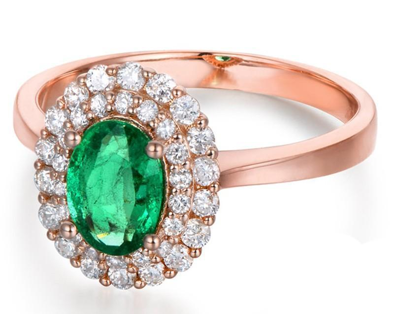 2 Carat Emerald and Diamond Halo Engagement Ring