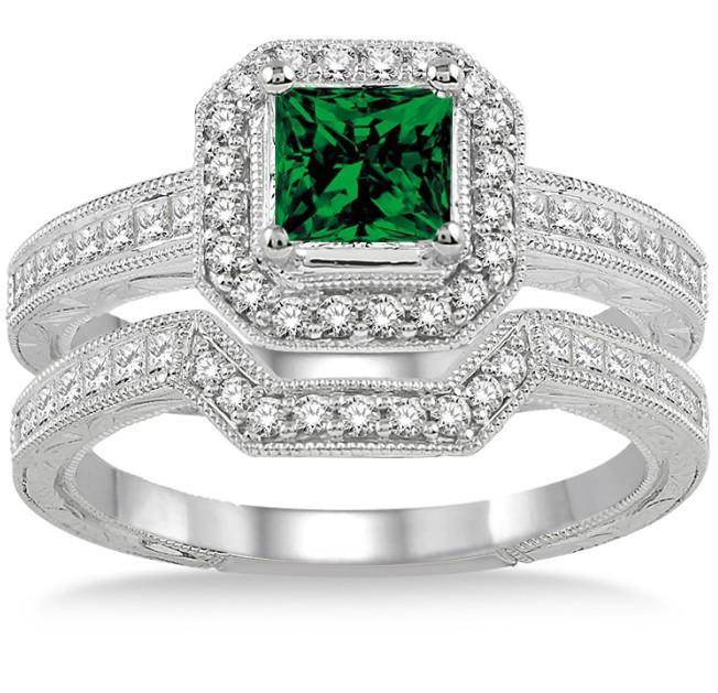 2 Carat Emerald & Diamond Antique Halo Bridal set on White Gold