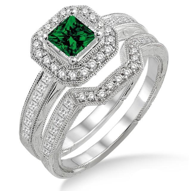 2 Carat Emerald & Diamond Antique Halo Bridal set on 9k White Gold