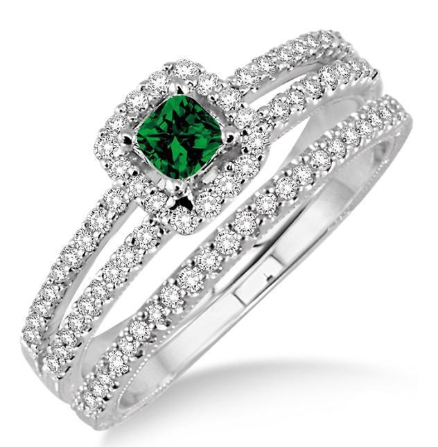 2 Carat Emerald & Diamond Bridal Set two row halo on 9k Yellow Gold