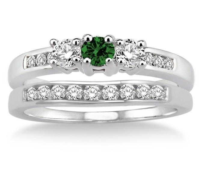 2 Carat Emerald & Diamond Elegant Three Stone Trilogy Round Cut Bridal set on 9k White Gold