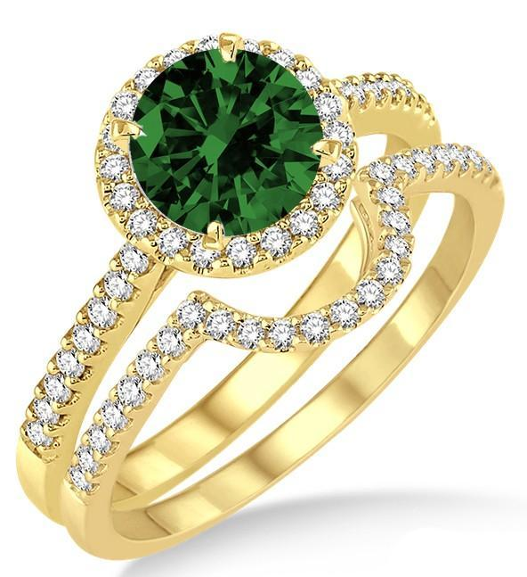 2 Carat Emerald & Diamond Halo Bridal Set Engagement Ring on Yellow Gold