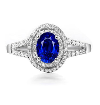 2 Carat Oval Cut Blue Sapphire and Diamond Halo Engagement Ring