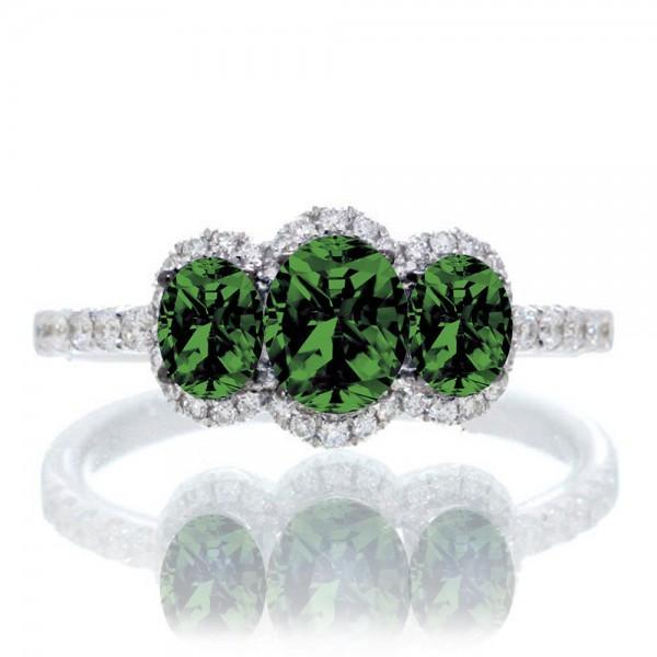 2 Carat Oval Cut Three Stone Trilogy Emerald Engagement Ring