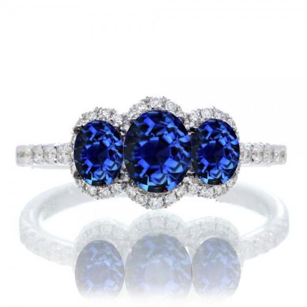 2 Carat Oval Cut Three Stone Trilogy Sapphire Engagement Ring
