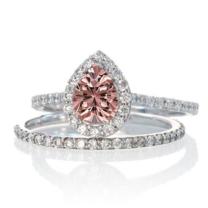 2 Carat Pear Cut Morganite Halo Bridal Set for Woman on White Gold