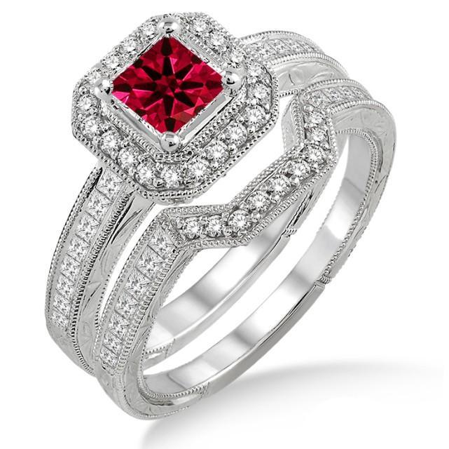 1.75 Carat Ruby & Diamond Antique Halo Bridal set on White Gold
