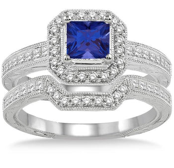 2 Carat Princess Cut Sapphire and Diamond Antique Halo Bridal Ring Set in White Gold