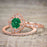 Affordable pair 2 Carat Emerald and Diamond Antique Wedding Ring Set in Rose Gold