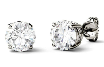 Bestselling 4 Prong 2 Carat Round Cut Moissanite Stud Earrings in White Gold
