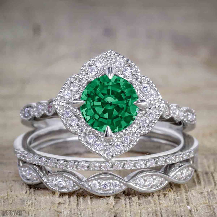 Affordable Antique Artdeco 2.25 Carat Round Emerald and Diamond Halo Wedding Trio Ring Set in White Gold