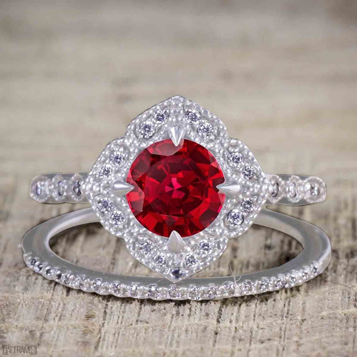 2 Carat Round cut Ruby and Diamond Bridal Set with semi eternity wedding band in White Gold