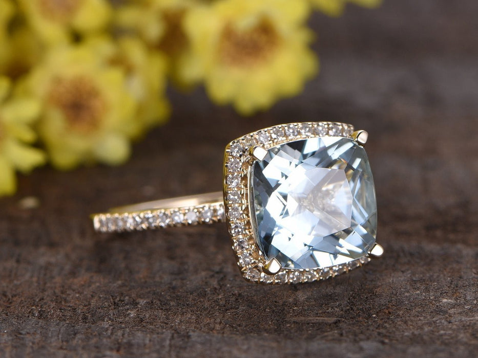 1.50 Carat Cushion Cut Aquamarine and Diamond Engagement Ring in Yellow Gold