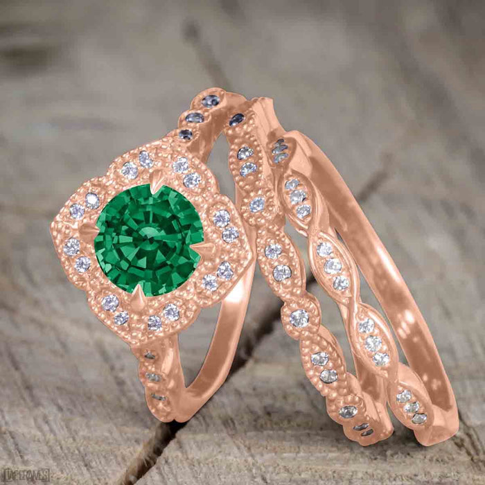 Beautiful 2 Carat Round cut Emerald and Diamond Halo Wedding Ring Set in Rose Gold