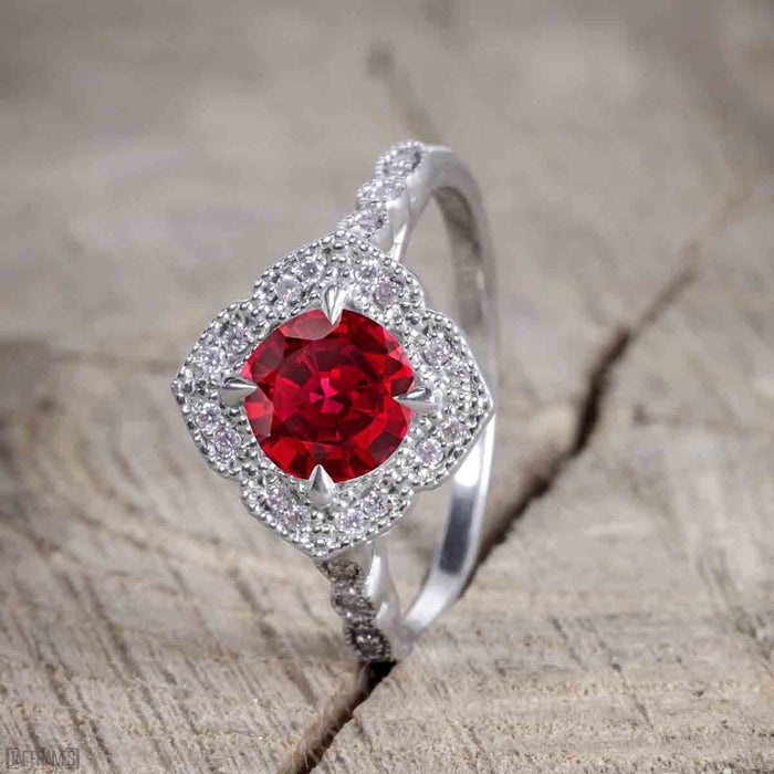 Beautiful 2 Carat Round cut Ruby and Diamond Halo Wedding Ring Set in White Gold