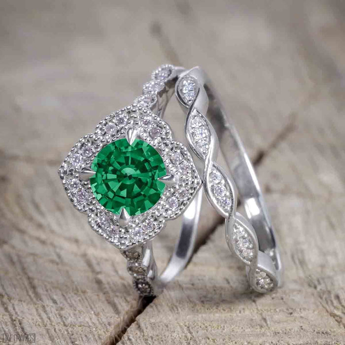 Beautiful 2 Carat Round cut Emerald and Diamond Halo Wedding Ring Set in White Gold
