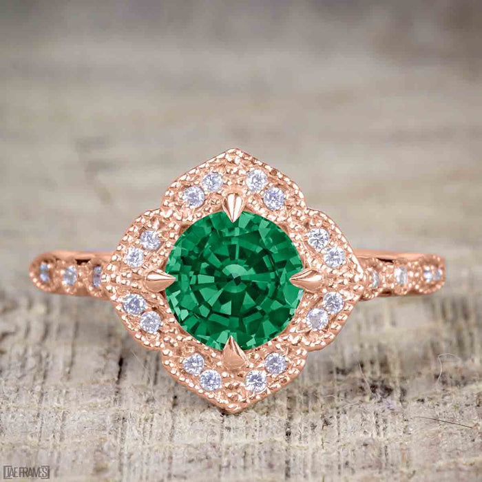 Affordable 2.50 Carat Round cut Emerald and Diamond Antique Wedding Trio Ring Set in Rose Gold