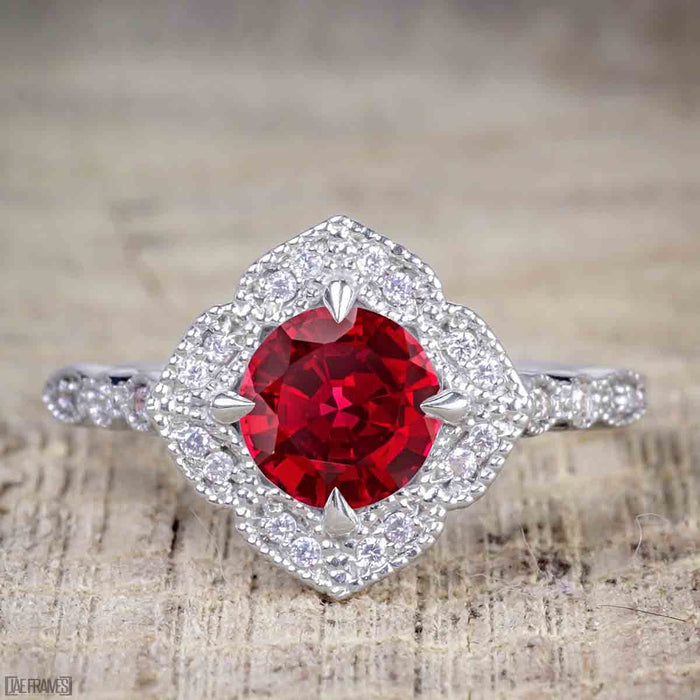 Bestselling 2.50 Carat Ruby and Diamond Halo Trio Wedding Bridal Ring Set in White Gold
