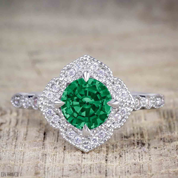 Affordable 2.50 Carat Round cut Emerald and Diamond Antique Wedding Trio Ring Set in White Gold