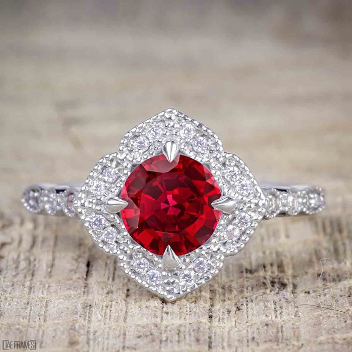 Antique Vintage 1.25 Carat Artdeco Halo Engagement Ring with Ruby and Diamond for Her in White Gold