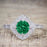 Affordable pair 2 Carat Emerald and Diamond Antique Wedding Ring Set in White Gold