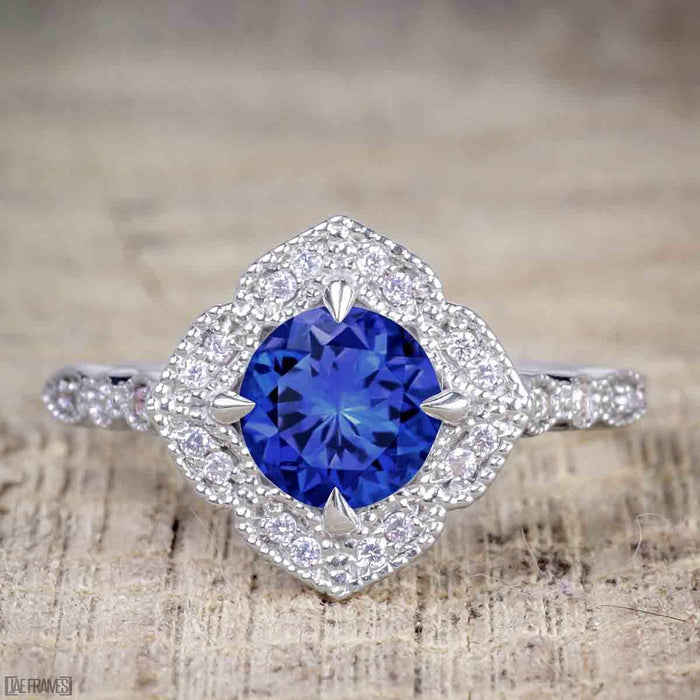 Affordable pair 2 Carat Sapphire and Diamond Antique Wedding Ring Set in White Gold
