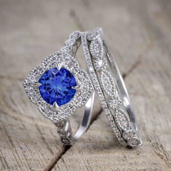 Unique Antique 2 Carat Round Cut Sapphire and Diamond Trio Wedding Ring Set for Women in White Gold
