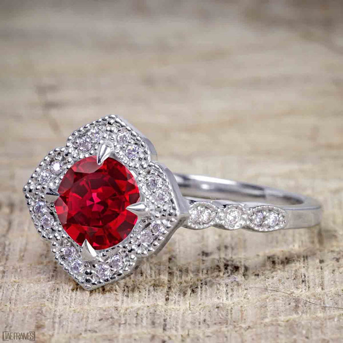 Unique 2 Carat Ruby and Diamond Halo Wedding Ring Set for Her in White Gold