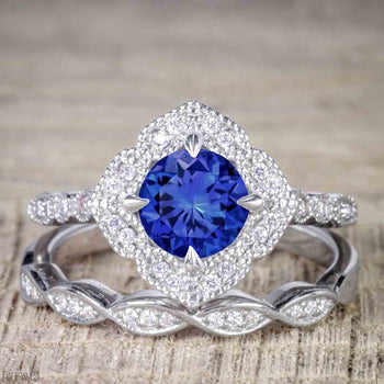 Unique 2 Carat Round Cut Sapphire and Diamond Halo Wedding Ring Set for Her in White Gold