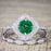 Bestselling 2.50 Carat Emerald and Diamond Halo Trio Wedding Bridal Ring Set in White Gold